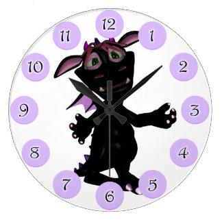 Black Bull Chin Dino Girl Clock