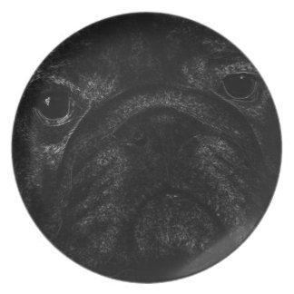 Black bulldog melamine plate