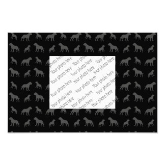 Black bulldog pattern photo print