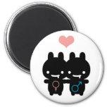 Black Bunny Love Magnet (White)