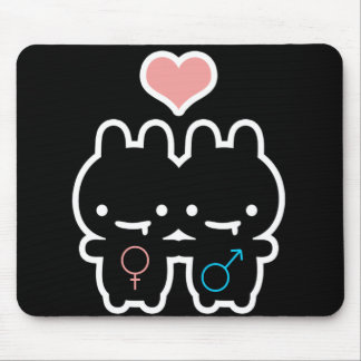 Black Bunny Love Mouse Pad