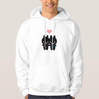 Black Bunny Love White Hoodie (Unisex)
