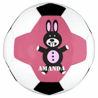Black bunny personalized soccer ball