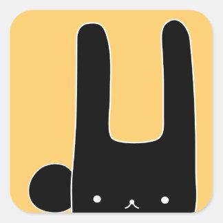 black bunny square sticker
