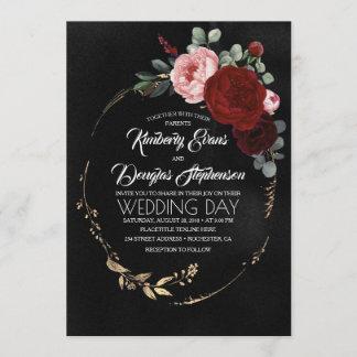 Black Burgundy and Gold Floral Modern Boho Wedding Invitation