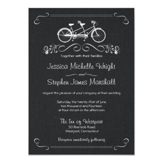 Black Burlap Bicycle for Two Wedding Invitations