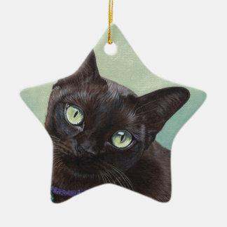 Black Burmese Cat Moose Christmas Ornament