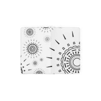 Black Burst Patterns on White Pocket Moleskine Notebook