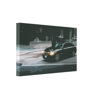 Black Business Car in Semi-Dark City Environment Canvas Print