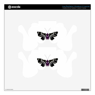 Black butter fly on white PS3 controller skins