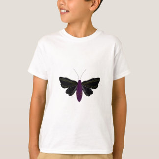 Black butter fly on white T-Shirt