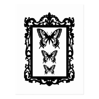 black butterflies in vintage picture frame postcard