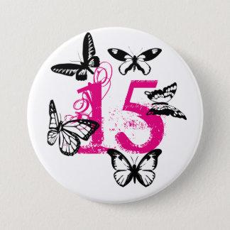Black butterflies on pink '15' button. pinback button