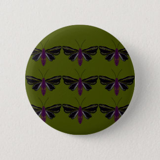 Black butterflies with green pinback button