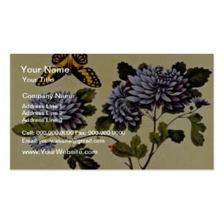Black Butterfly and Dahlias, unknown artist flower Business Card