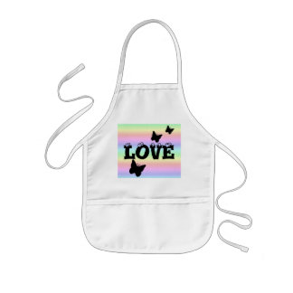 Black Butterfly and Love on Rainbow Kids' Apron