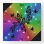 black Butterfly and stars on  Rainbow Square Wall Clock