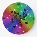 black Butterfly and stars on  Rainbow Round Wall Clocks