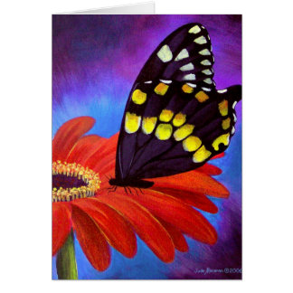 Black Butterfly Daisy Painting - Multi Greeting Card