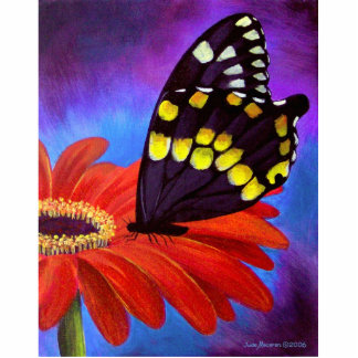 Black Butterfly Daisy Painting - Multi Cutout
