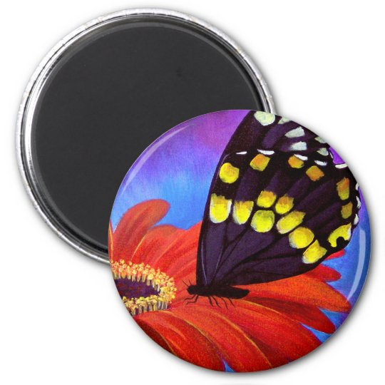 Black Butterfly Daisy Painting - Multi Magnet