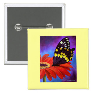 Black Butterfly Daisy Painting - Multi Pins