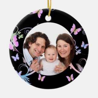 Black Butterfly Frame Christmas Ornament