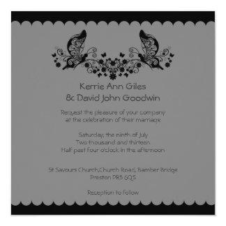 Black Butterfly Frill Wedding Invitation