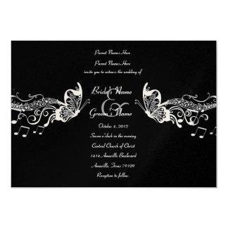 Black Butterfly Music Fidelity Wedding Invitations