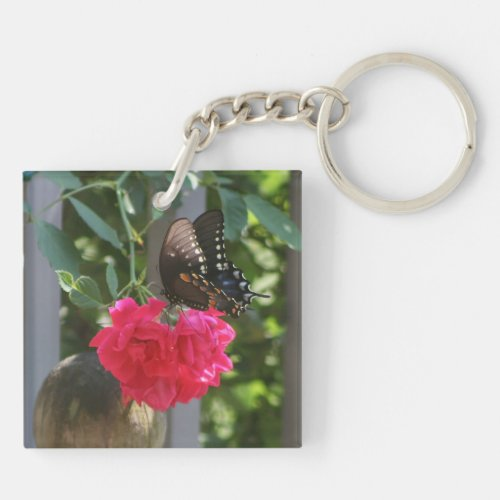 Black Butterfly on a Red Rose Keychain