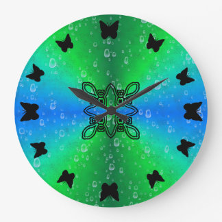 black Butterfly on green rainbow in leather optics Large Clock