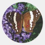 Black Butterfly on Heliotrope Round Sticker