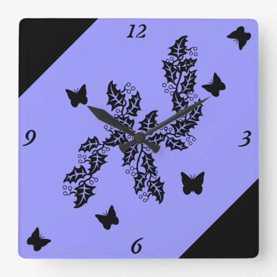 black Butterfly on lilac Square Wall Clock