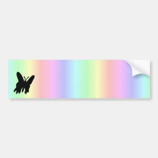 Black Butterfly on Pastell Rainbow Bumper Sticker