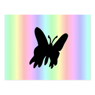 Black Butterfly on Pastell Rainbow Postcard