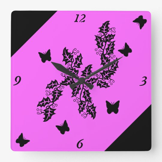 black Butterfly on pink Square Wall Clock