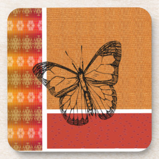 Black Butterfly on Plaid Drink Coaster