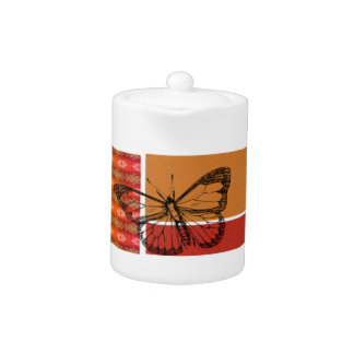 Black Butterfly on Plaid Teapot