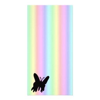 Black Butterfly on rainbow Photo Card