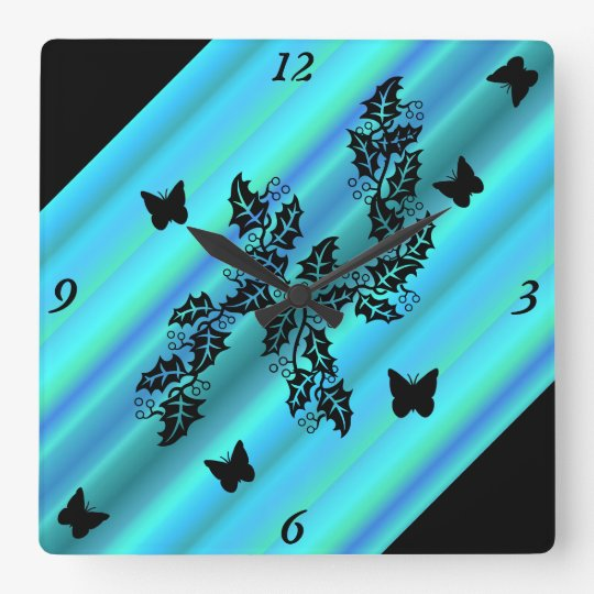 black Butterfly on  Rainbow Square Wall Clock