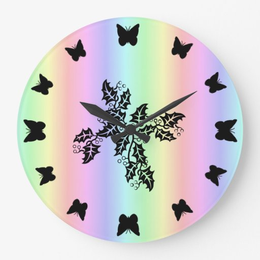 black Butterfly on  Rainbow Wall Clock