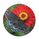 Black Butterfly on Red Zinnia Flower Dart Board