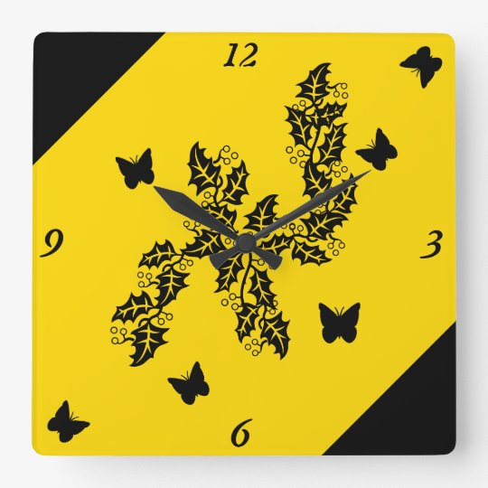 black Butterfly on  Yellow Square Wall Clock