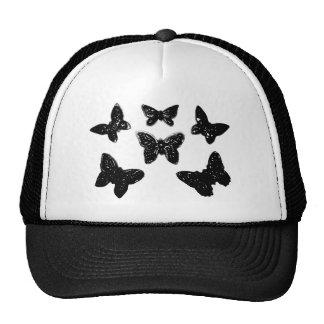 Black Butterfly Pattern Hats