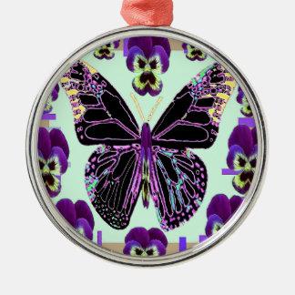 Black Butterfly Purple Pansies art by Sharles Metal Ornament