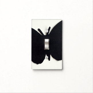 BLACK BUTTERFLY SINGLE TOGGLE SWITCH PLATE COVERS