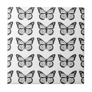 Black Butterfly Stencils Ceramic Tile