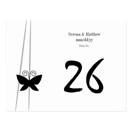 Black Butterfly Table Number Postcard
