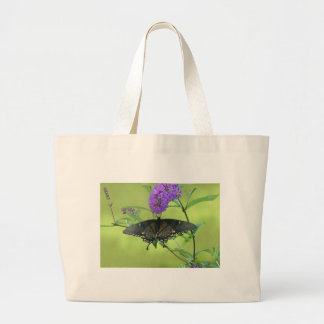 Black Butterfly Templete Items Large Tote Bag