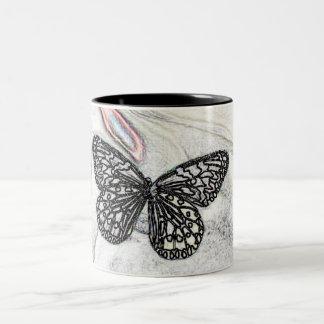 Black Butterfly Two-Tone Coffee Mug